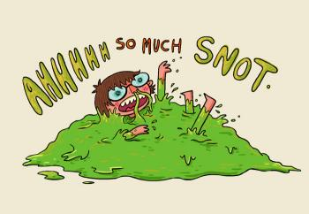 Cartoon of person swimming in snot