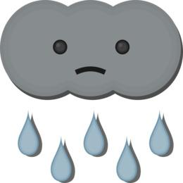 sad cloud with rain like tears